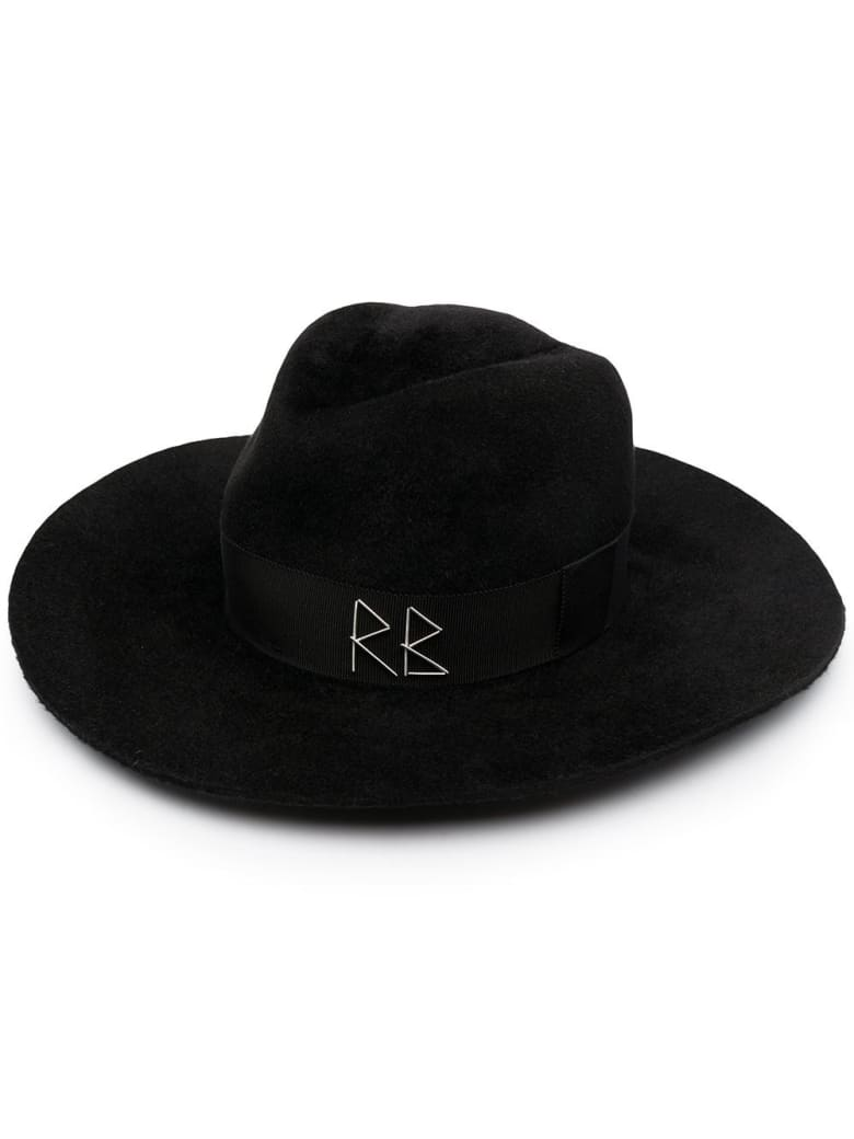 Ruslan Baginskiy Fedora Hat With Crystals And Pearls - Black
