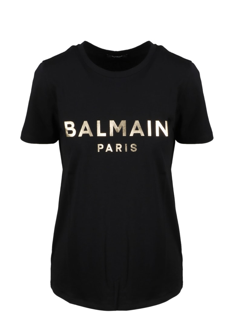 Balmain Metallic Logo T-shirt - Noir/or