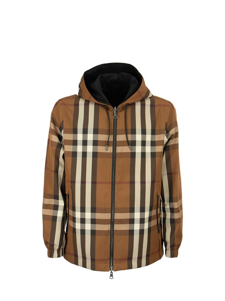 Burberry Stretton - Reversible Check Technical Cotton Hooded Jacket - Dark Birch Brown