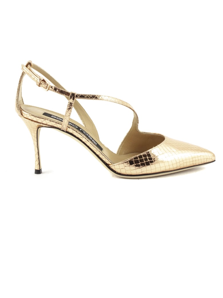 Sergio Rossi Sandal In Rose Gold Leather - Oro rosa