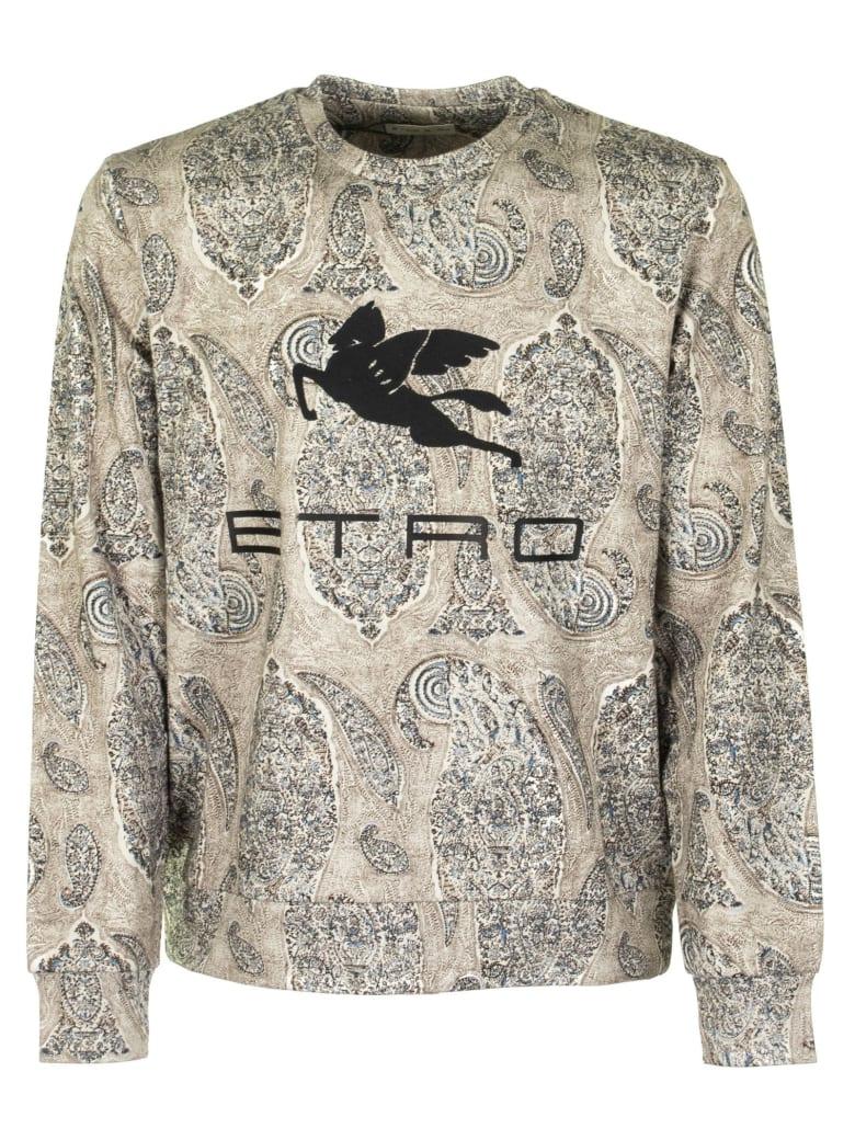 Etro Sweatshirt With Paisley Motif And Pegasus Logo - Beige/blue