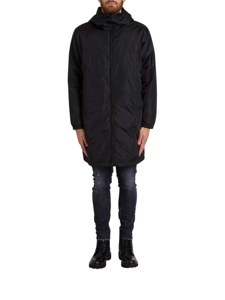 Dsquared2 Oversize Padded Parka With Rear Logo Print - Nero
