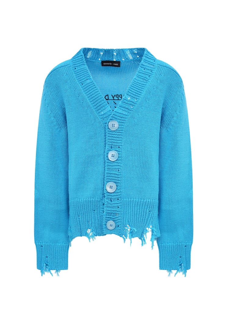 "Riccardo Comi Light Blue ""happy Day"" Cardigan For Kids - Light Blue"