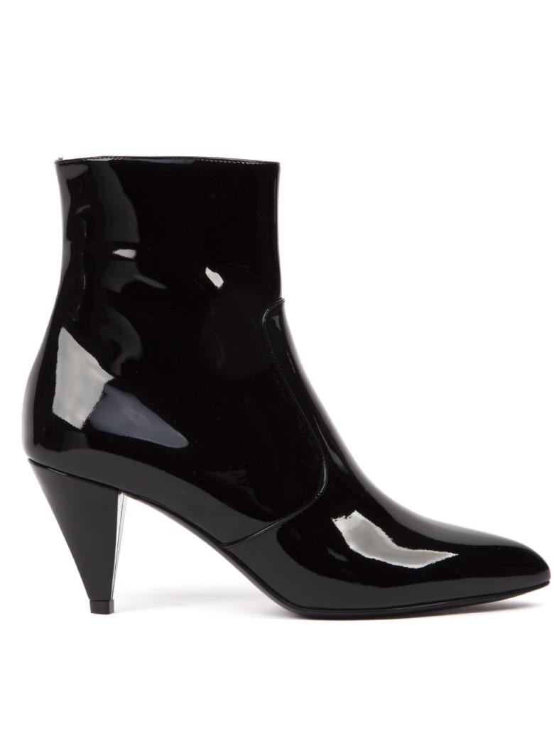 Celine Black Patent Leather Ankle Boots - Black