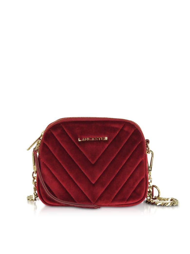 Lancaster Paris Quilted Velvet Couture Mini Camera/belt Bag - Red