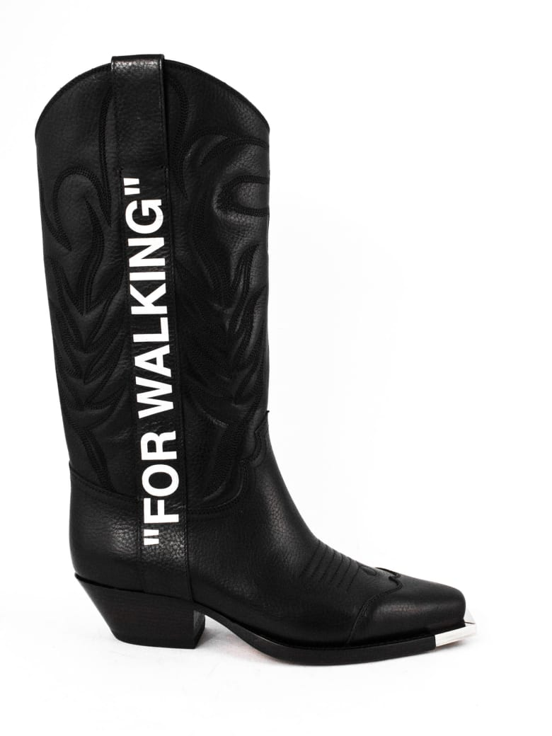 Off-White Black Leather Cowboy Boots - Nero