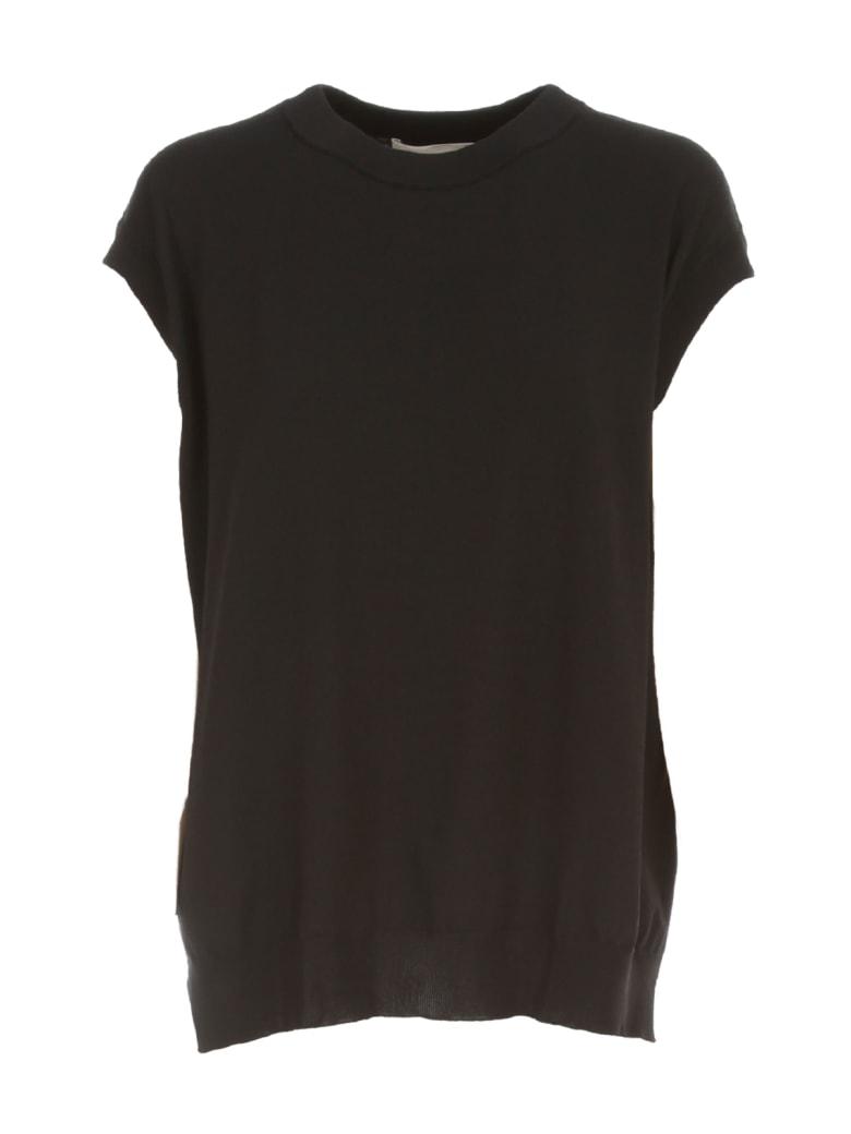 Liviana Conti Straight Sweater W/s Crew Neck W/popeline - Black Black