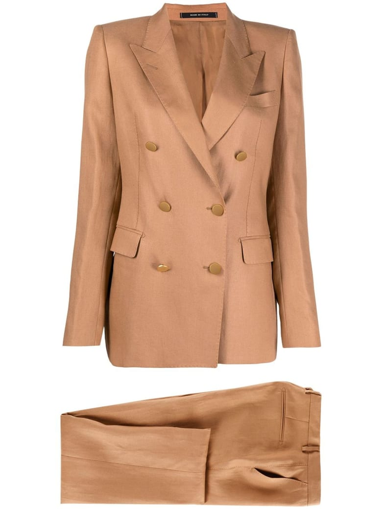 Tagliatore Camel-brown Linen Suit - Cammello