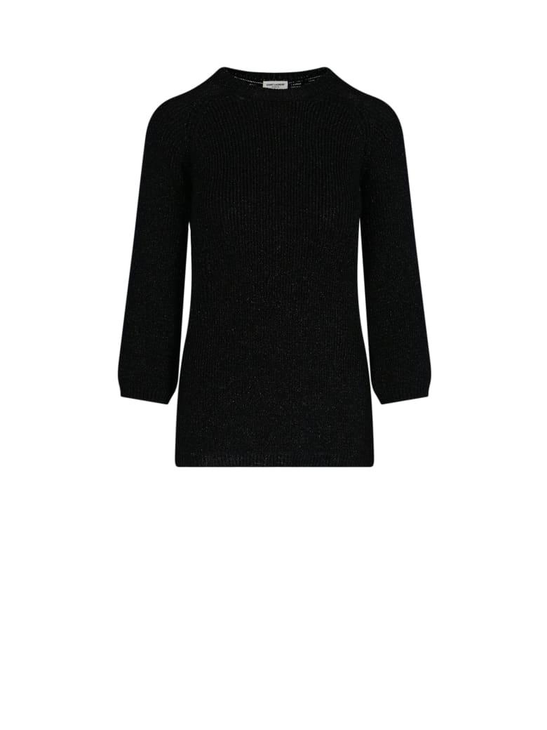 Saint Laurent Rib-knit Lamé Sweater - Nero