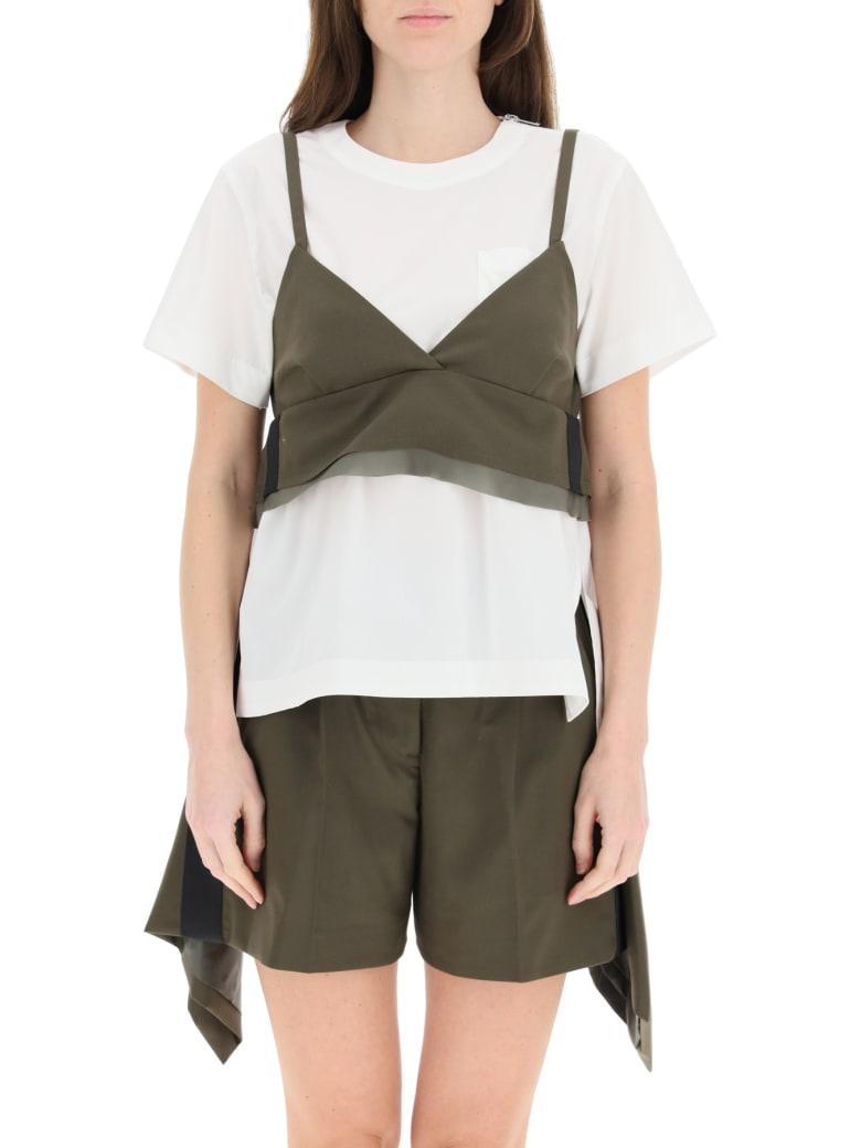 Sacai T-shirt With Wool Blend Top - Khakiwhite
