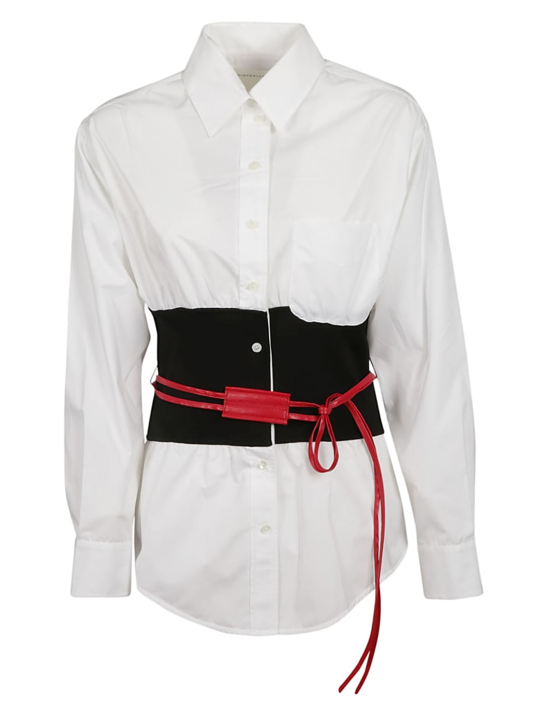 Victoria Beckham Belted Shirt - White/black/red