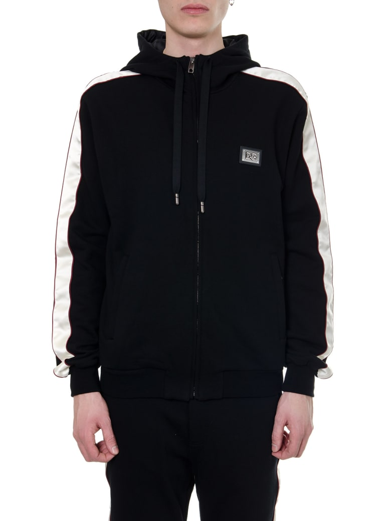 Dolce & Gabbana Black Cotton Zipped Sweatshirt - Black