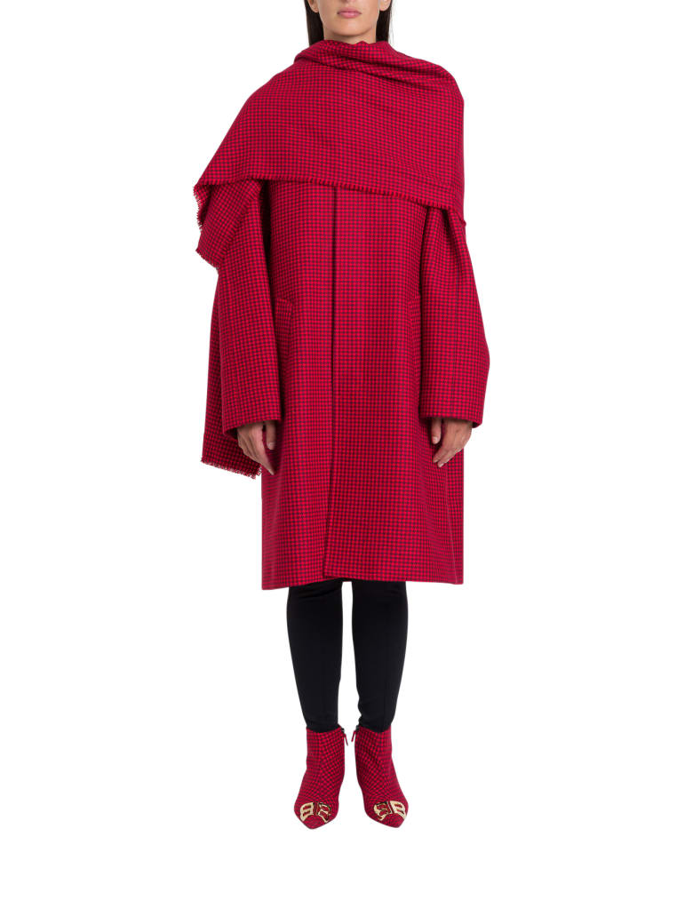 Balenciaga Cocoon Scarf Coat In Red Houndstooth Wool - Rosso