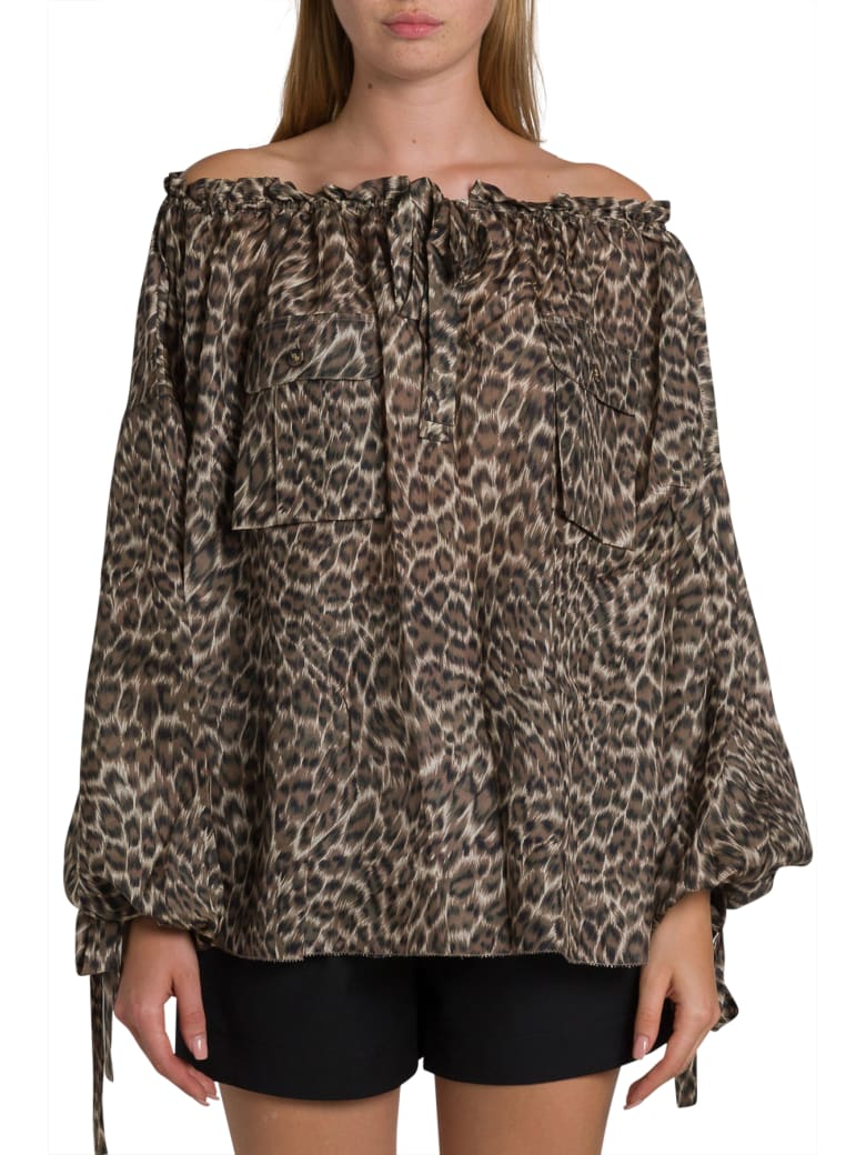 Zimmermann Suraya Silk Shirt With Leopard Motif - Marrone
