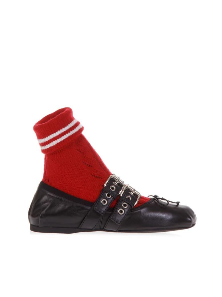 Miu Miu Black Leather Ballerinas With Red Sport Sock - Black/red