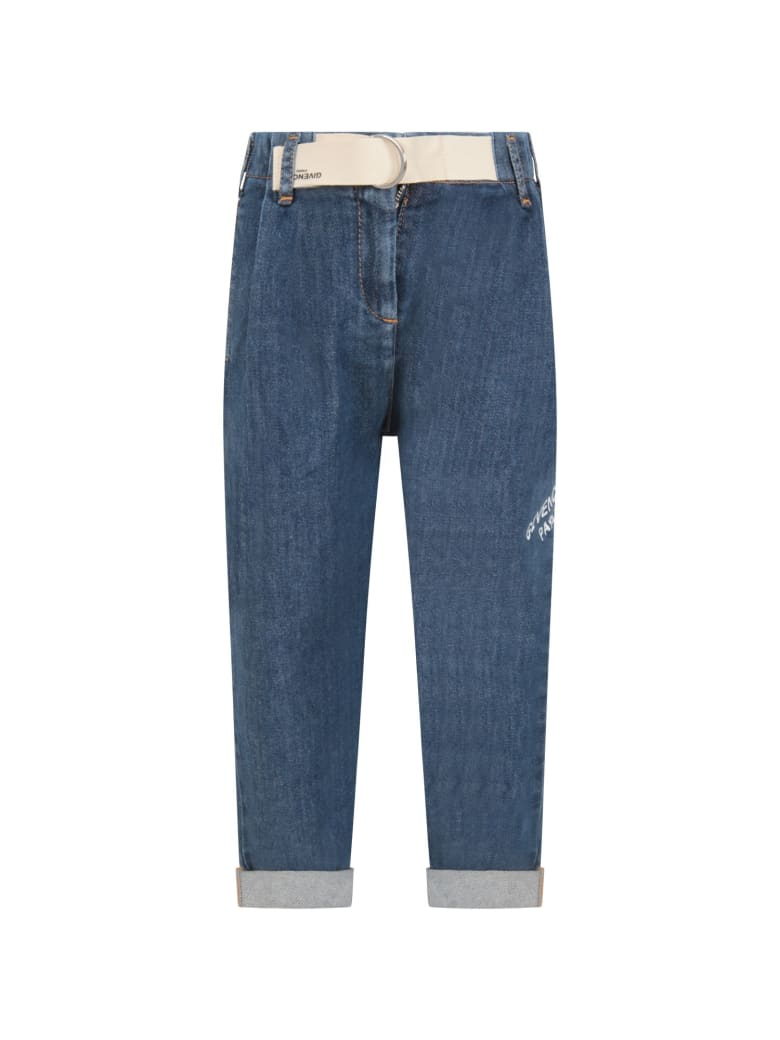 Givenchy Light Blue Jeans For Girl With Logo - Denim