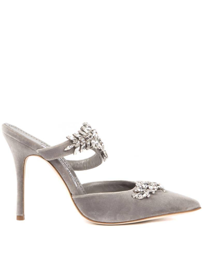 Manolo Blahnik Lurum Grey Velvet Mules With Swarovski - Grey