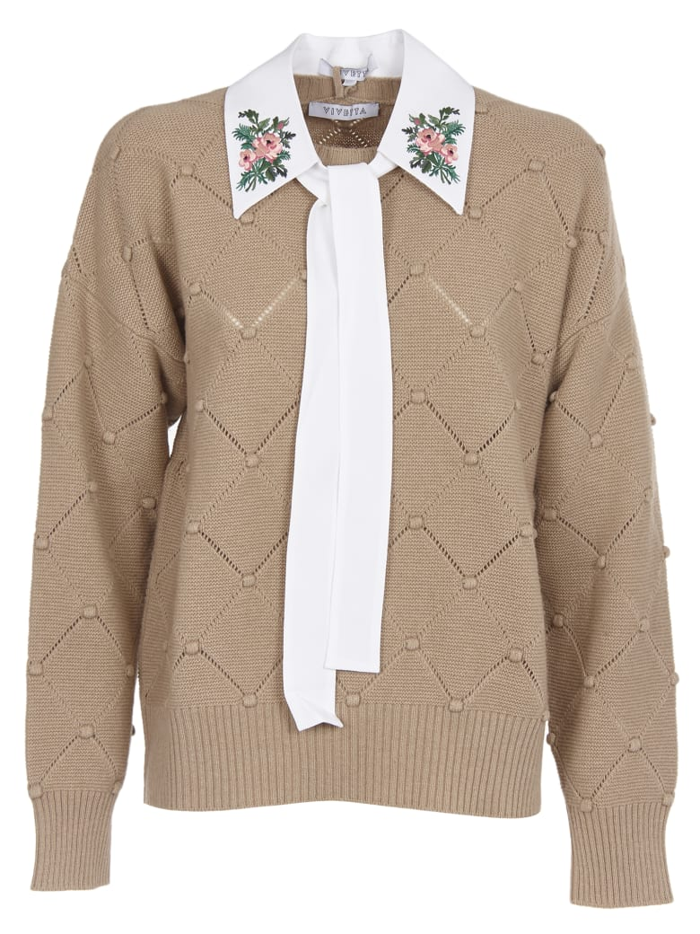 Vivetta Beige Sweater With Shirt Collar - Beige