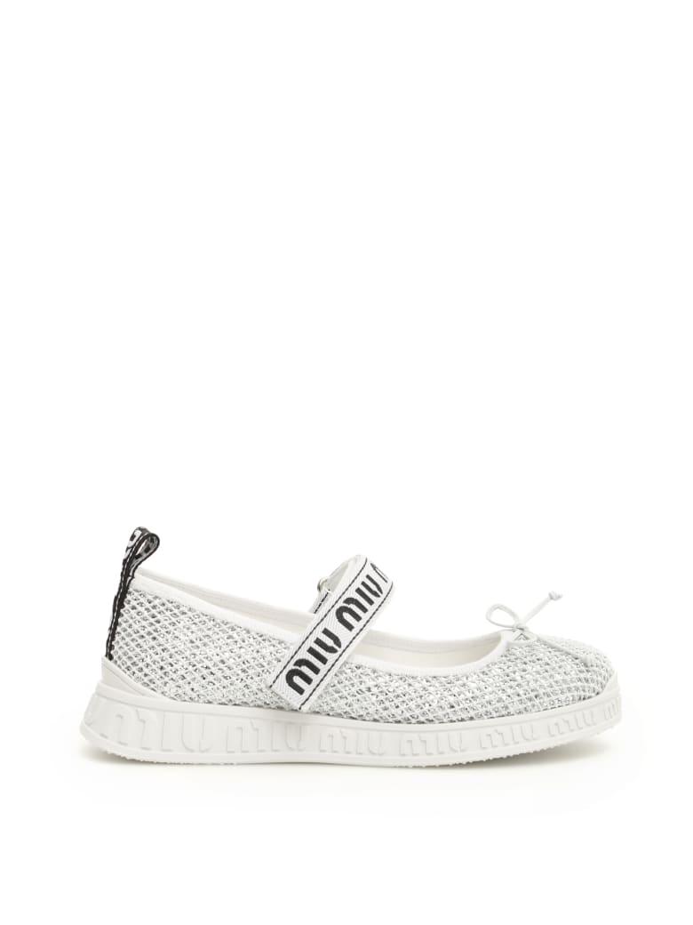 Miu Miu Glitter Net Ballerina Sneakers - ARGENTO BIANCO (White)