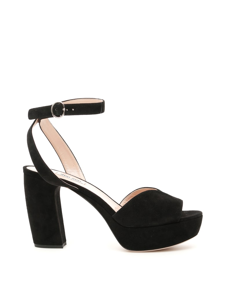 Miu Miu Suede Platform Sandals - NERO (Black)