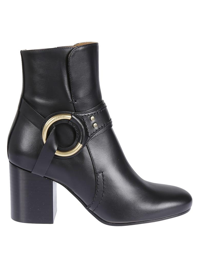 Chloé Stud Leather Ankle Boots - Black