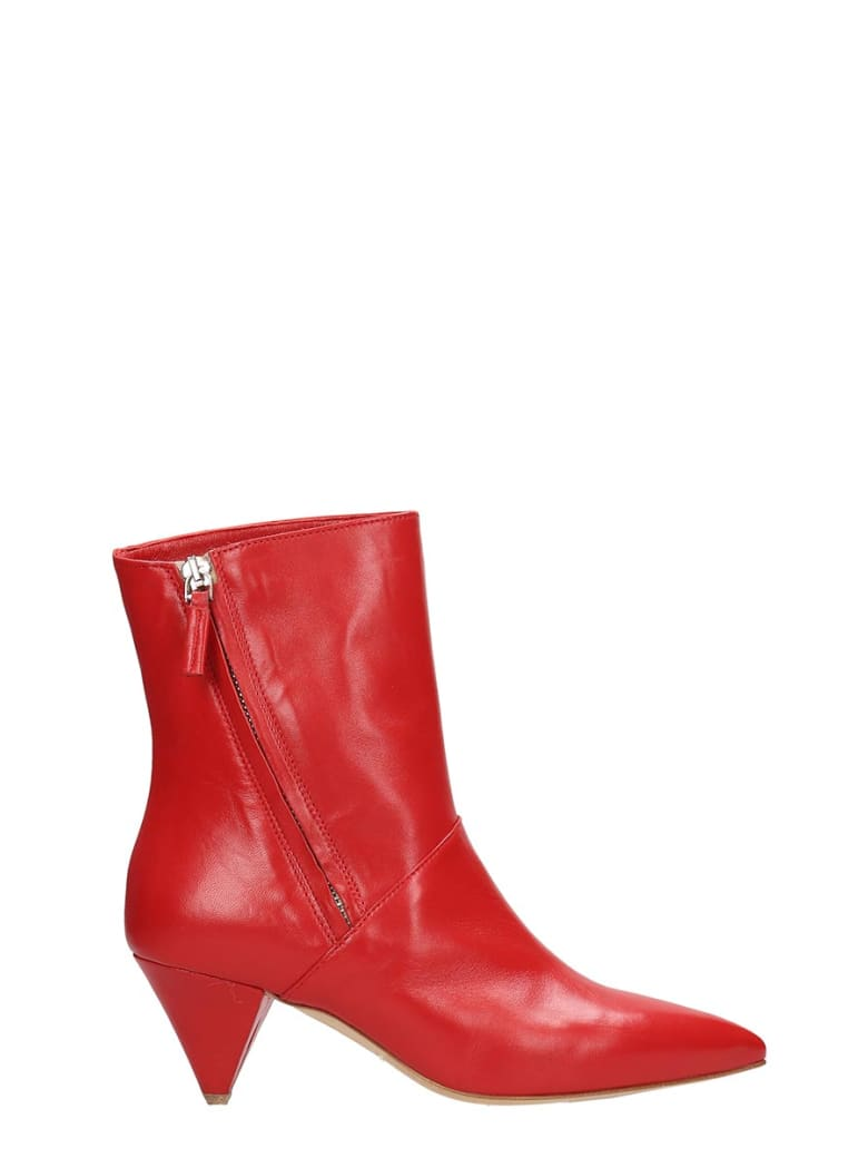The Seller Red Leather Ankle Boots - red