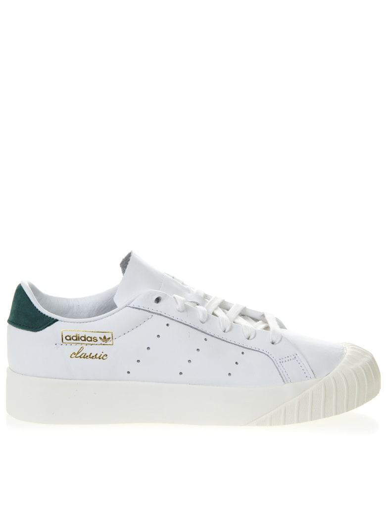 Adidas Originals Everyn White Leather Sneakers With Green Nubuck Insert - White