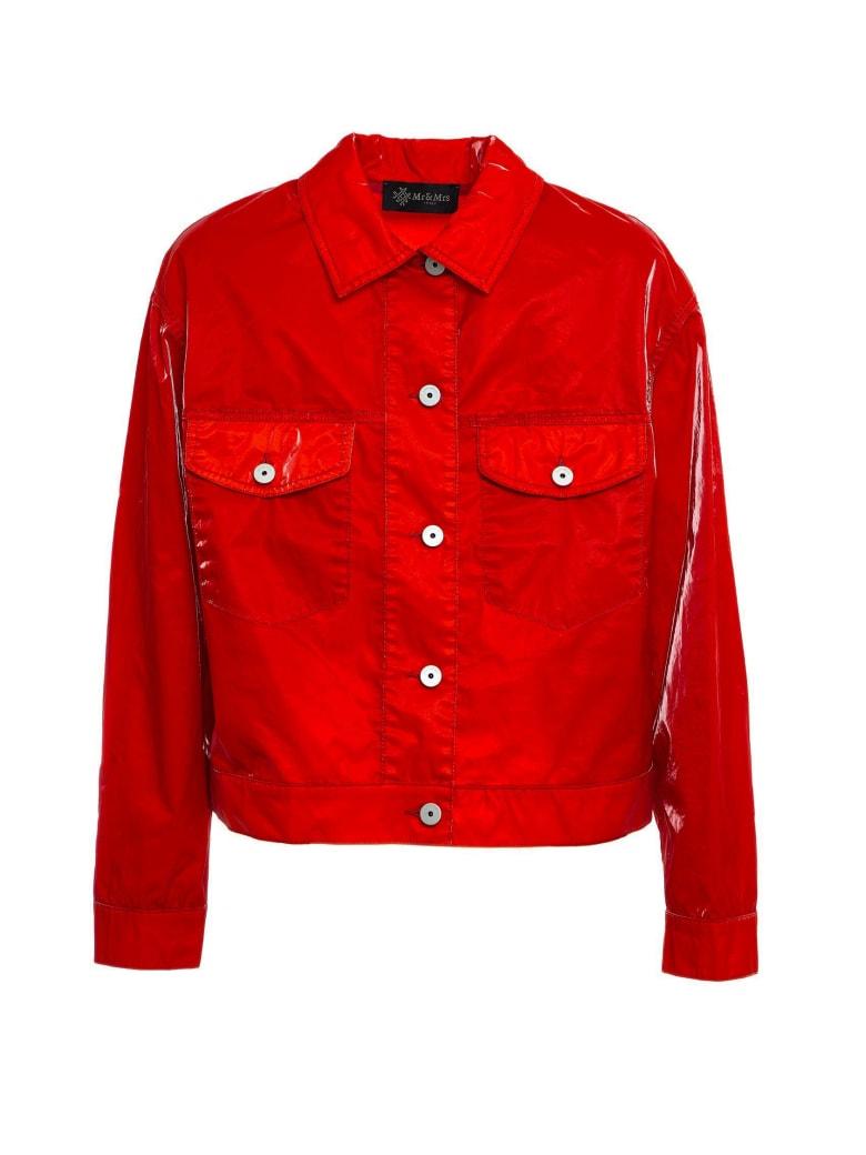 Mr & Mrs Italy Cotton Velvet Tech Short Jacket For Woman - FLAME