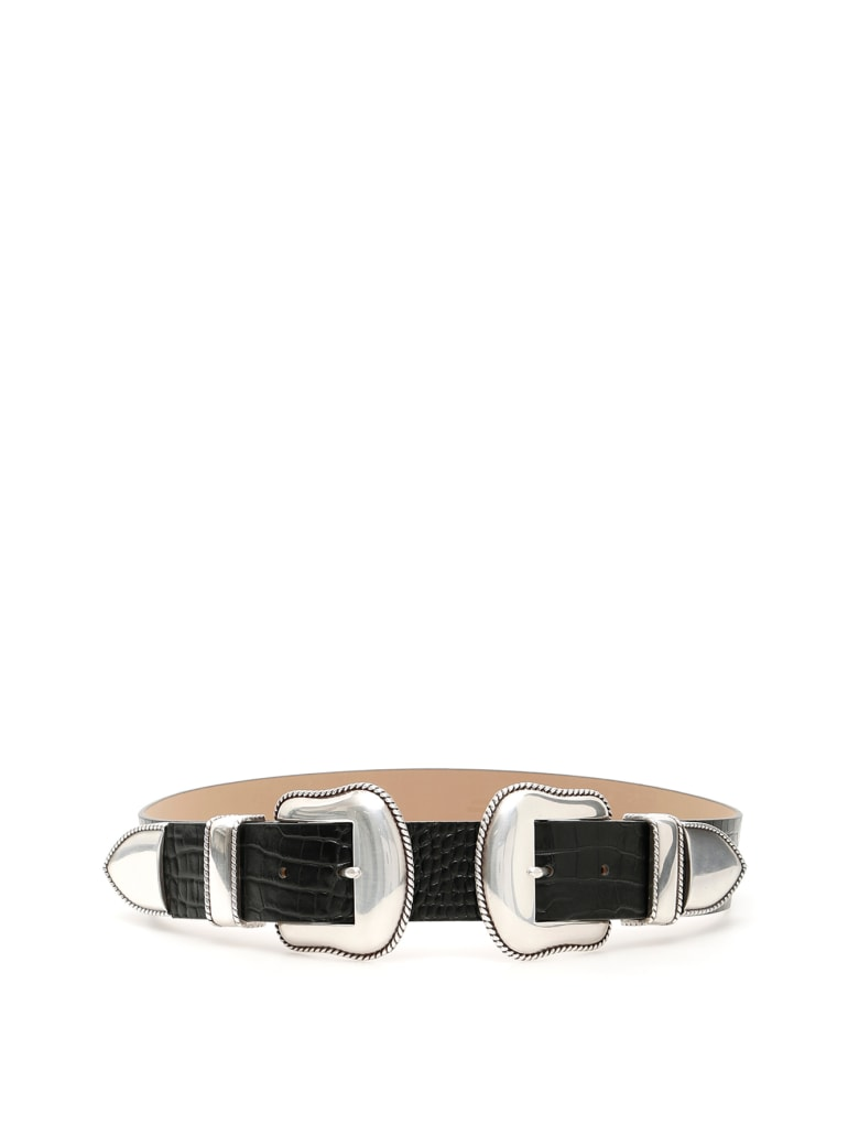 B-Low the Belt Rouge Croco Belt With Double Buckle - BLACK SILVER (Black)