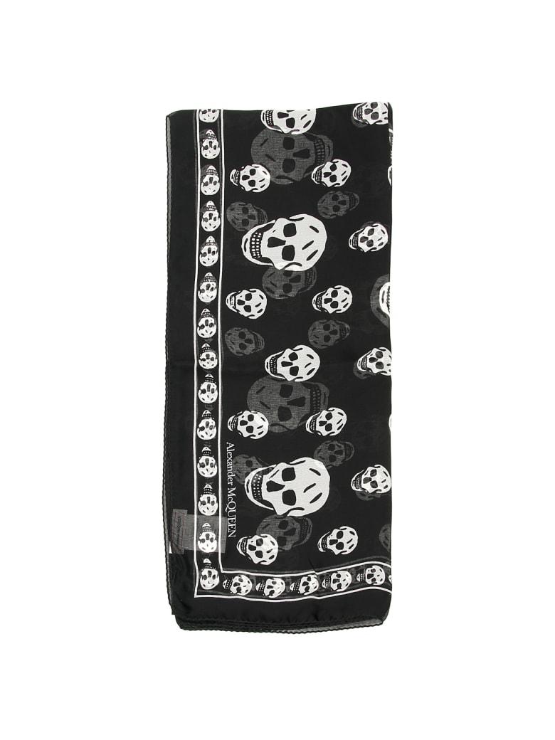 Alexander McQueen Silk Skull Scarf - BLACK IVORY (Black)
