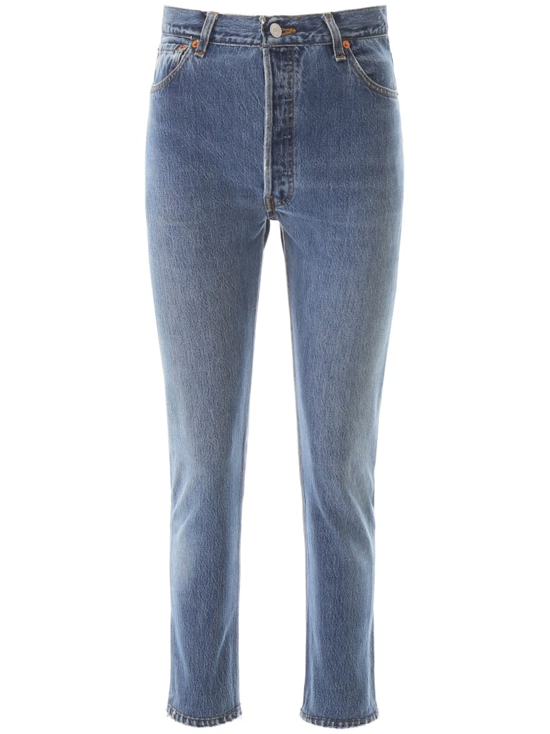 RE/DONE High Rise Sankle Crop Jeans - INDIGO (Blue)
