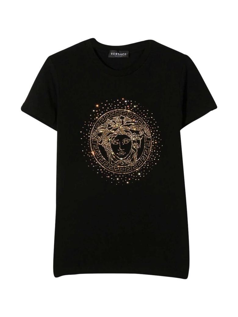 Young Versace Black T-shirt With Golden Print - Nero/oro