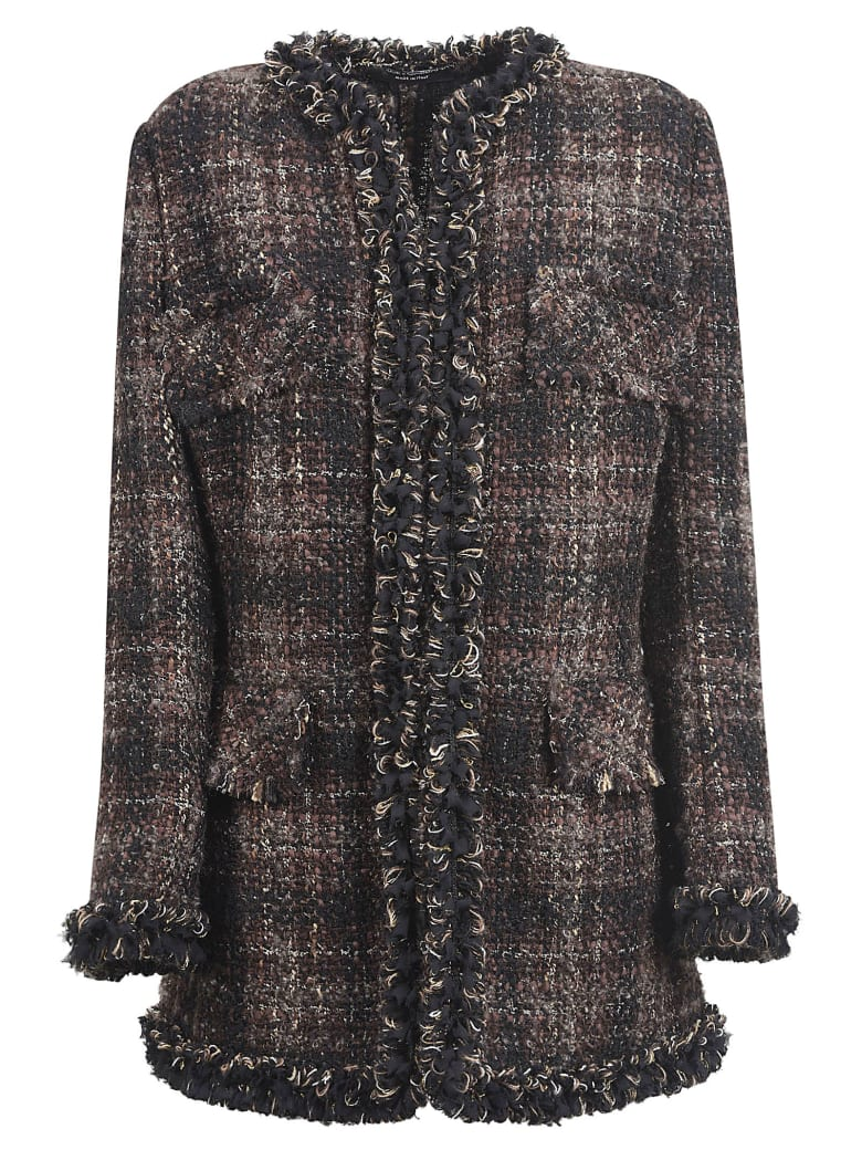 Dolce & Gabbana Frayed Edge Woven Checked Top - Black