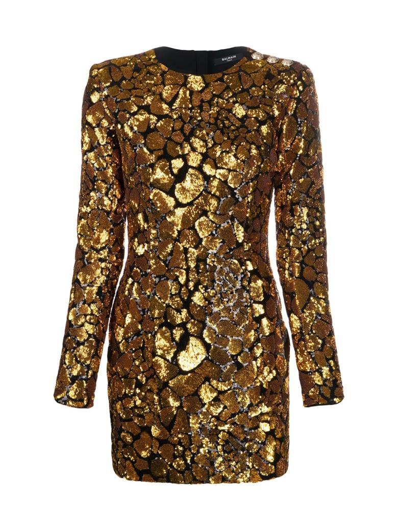 Balmain Short Ls Sequined Giraffe Pattern Dress - Ead Noir Or