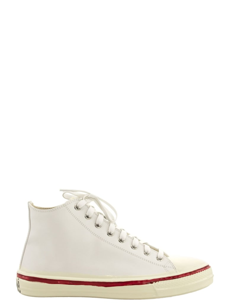 Marni Graffiti White High-top Sneaker In Leather With Partial Rubber Coating - White