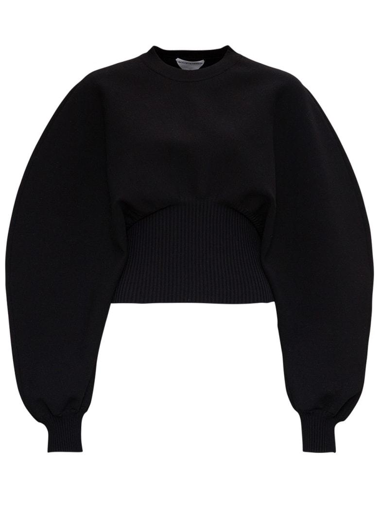 Bottega Veneta Stretch Wool Sweater With Oversize Sleeves - Black