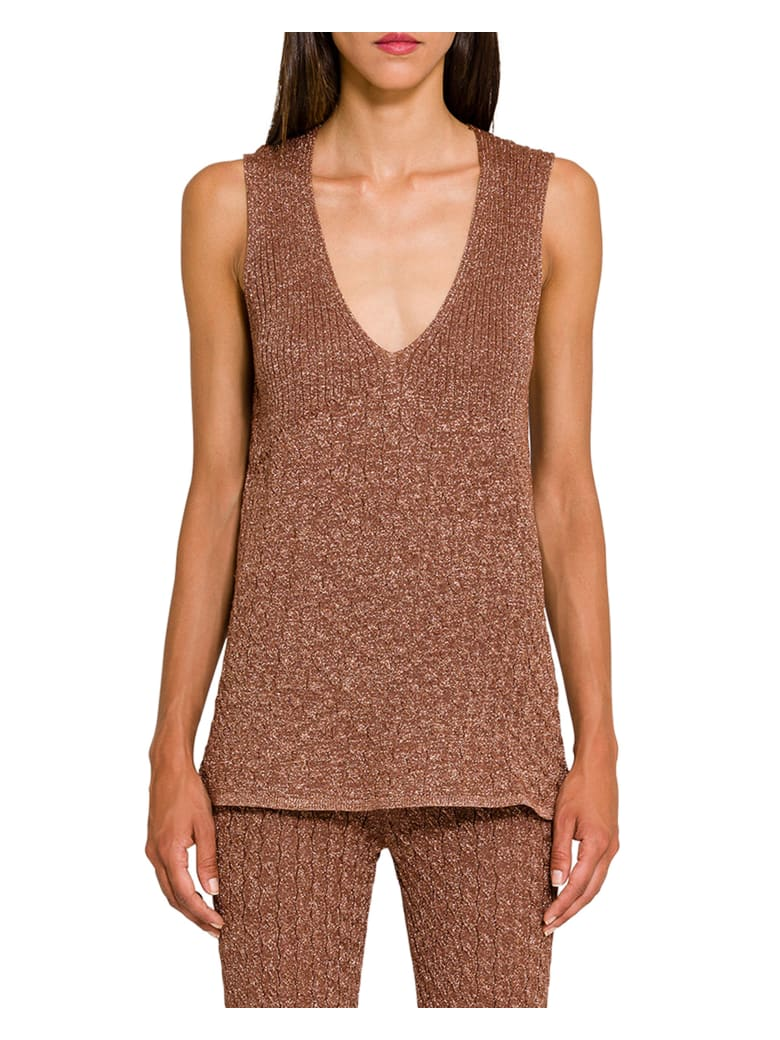 Circus Hotel Lamé Knitted Tank Top -  Almond