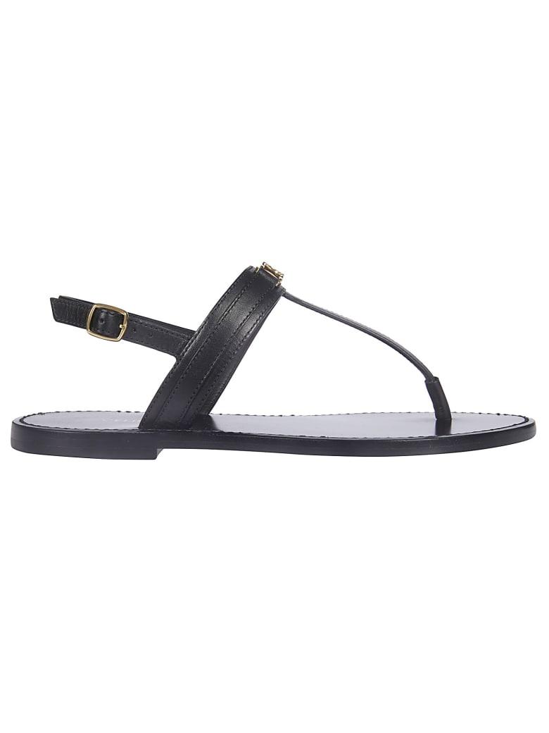 Celine Logo Flat Sandals - Black