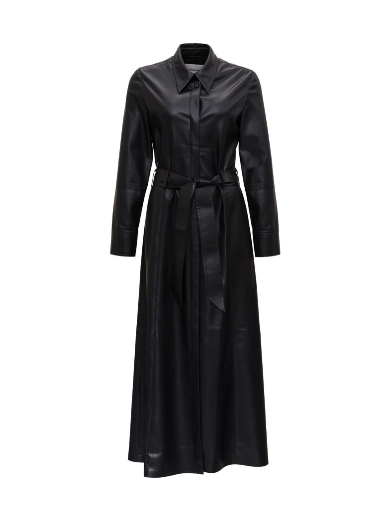 Nanushka Long Faux Leather Dress With Belt - Black