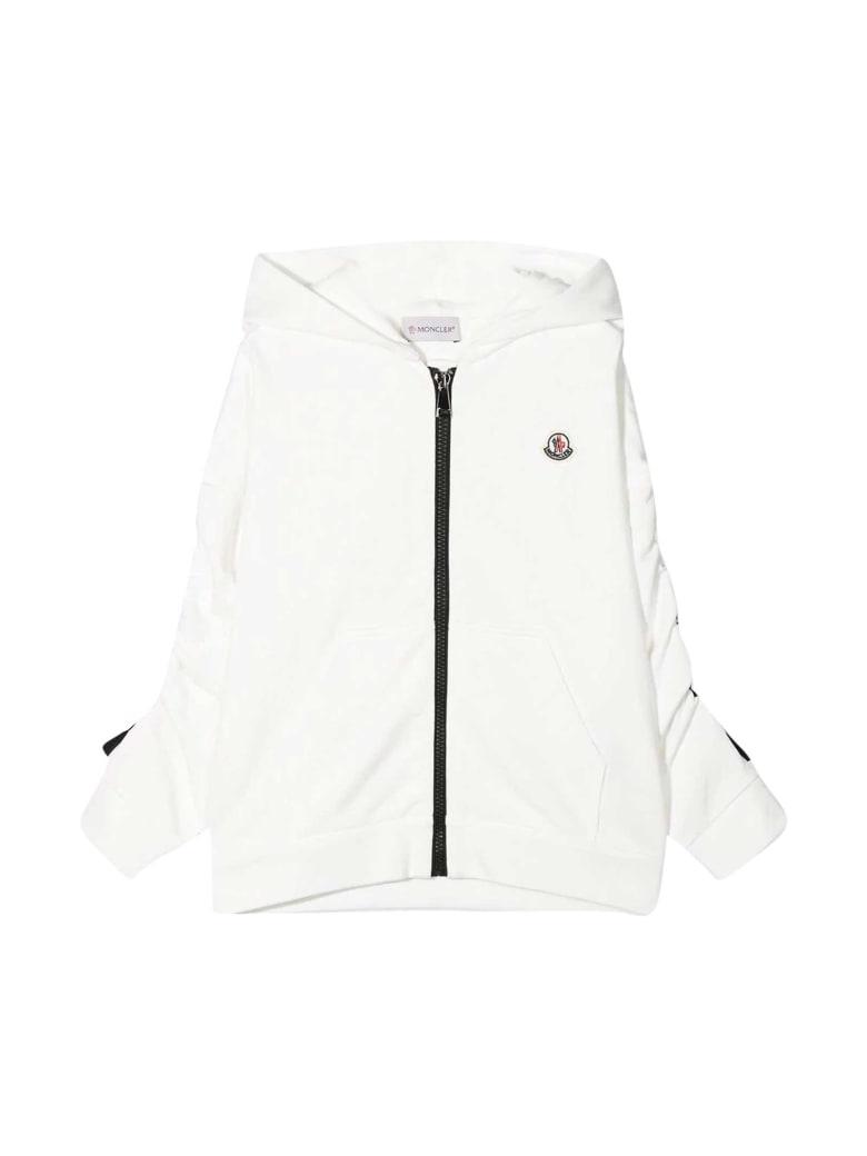 Moncler White Sweatshirt With Zip , Hood And Logo - Unica
