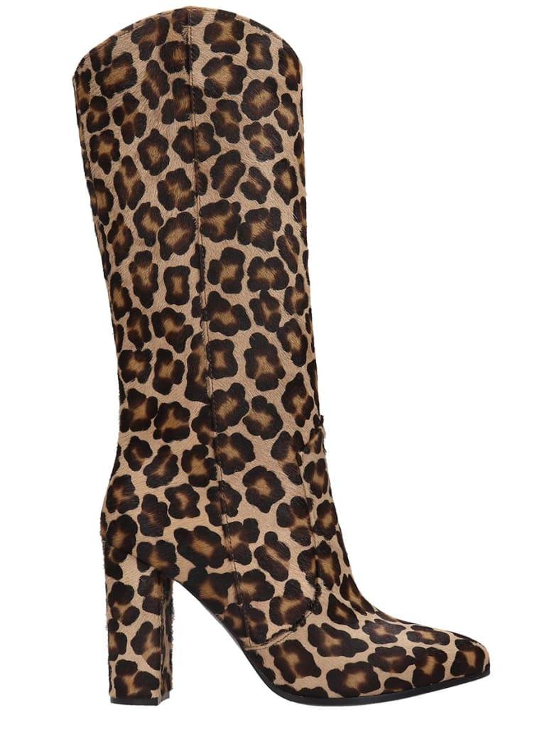 Via Roma 15 High Heels Boots In Animalier Pony Skin - Animalier