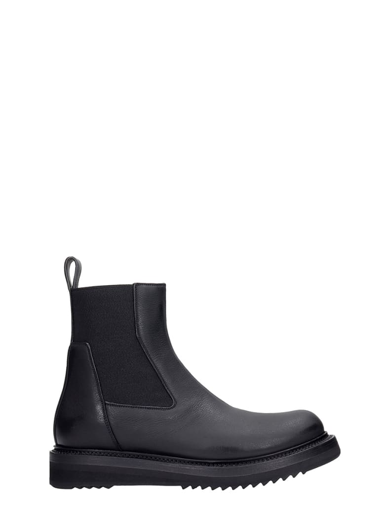 Rick Owens Creeper Elastic Low Heels Ankle Boots In Black Leather - black