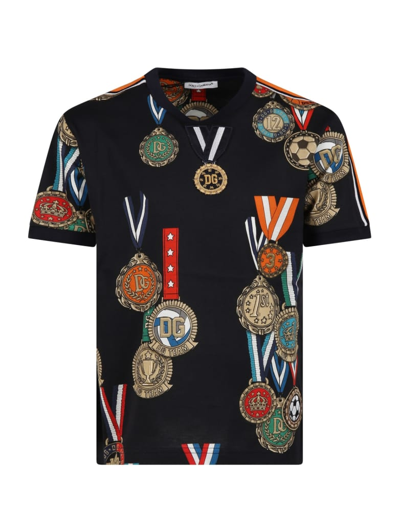 Dolce & Gabbana Blue T-shirt For Boy With Medals - Blu scuro