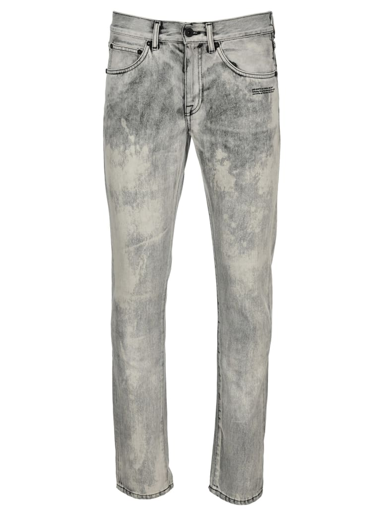Off-White Off White Acid Wash Printed Logo Jeans - BLITCHED BLACK