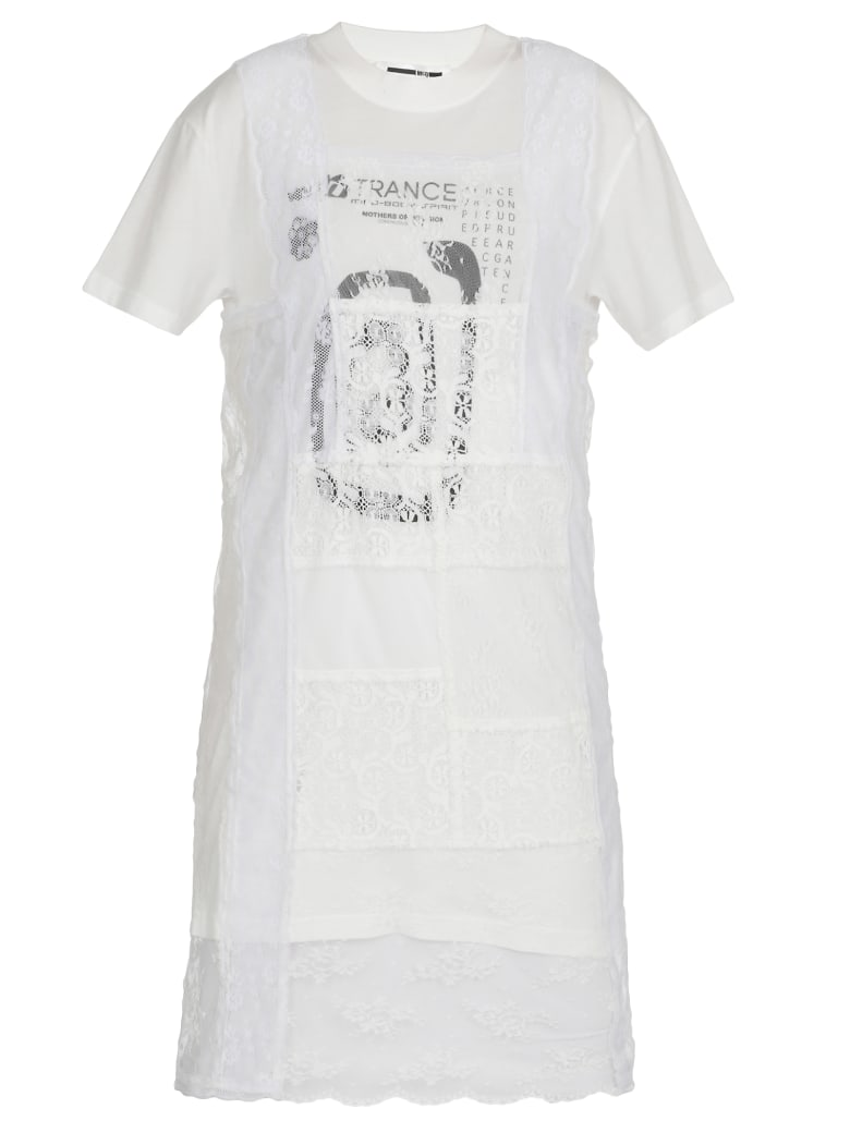 McQ Alexander McQueen Dress With Laces - WHITE/CREAM