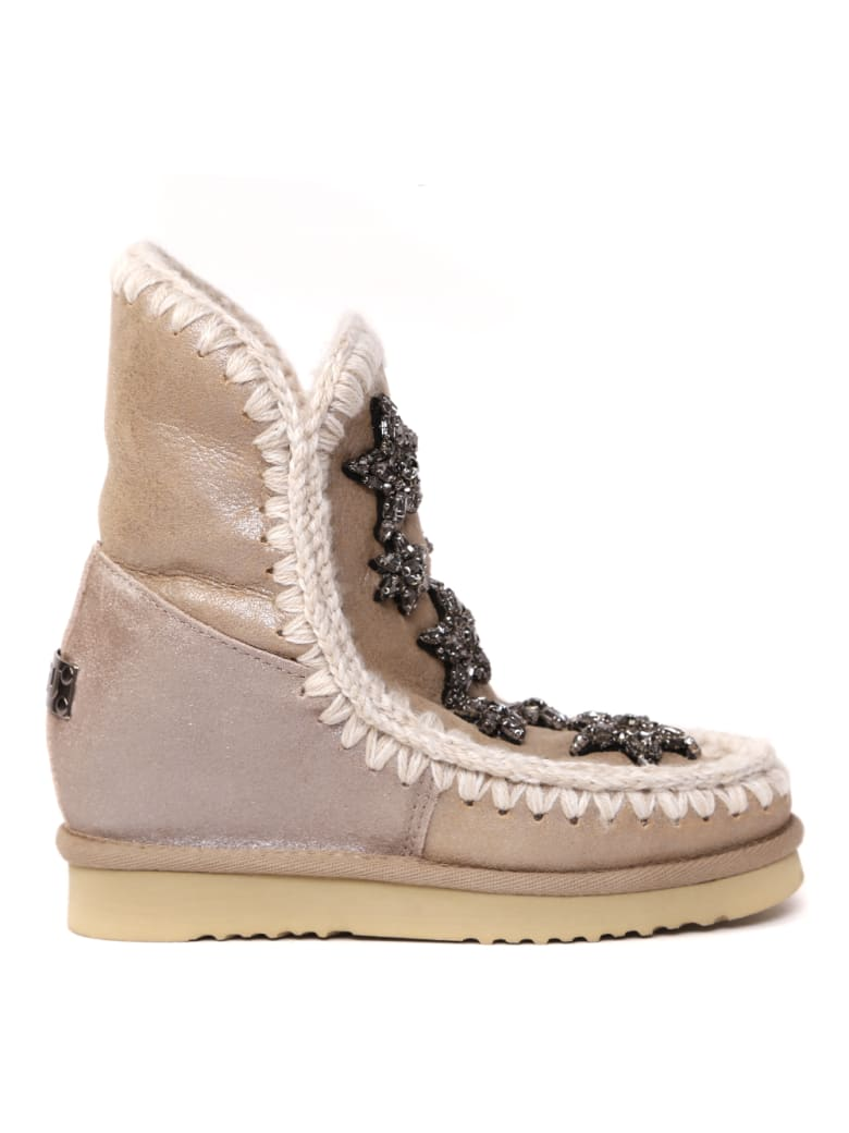 Mou Bronze Crystal Stars Mutton Ankle Boots - Bronze