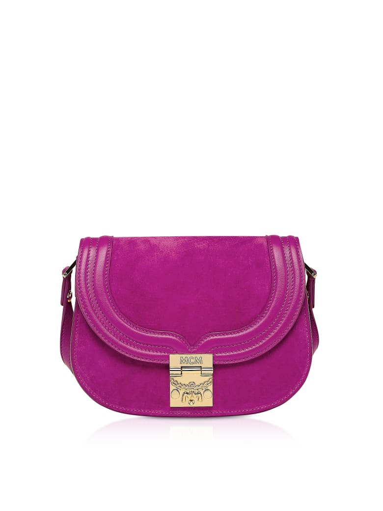 MCM Trisha Viva Lilac Suede And Leather Small Shoulder Bag - Lilac