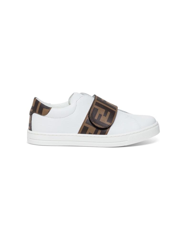 Fendi Logo Printed Slip-on Sneakers - White