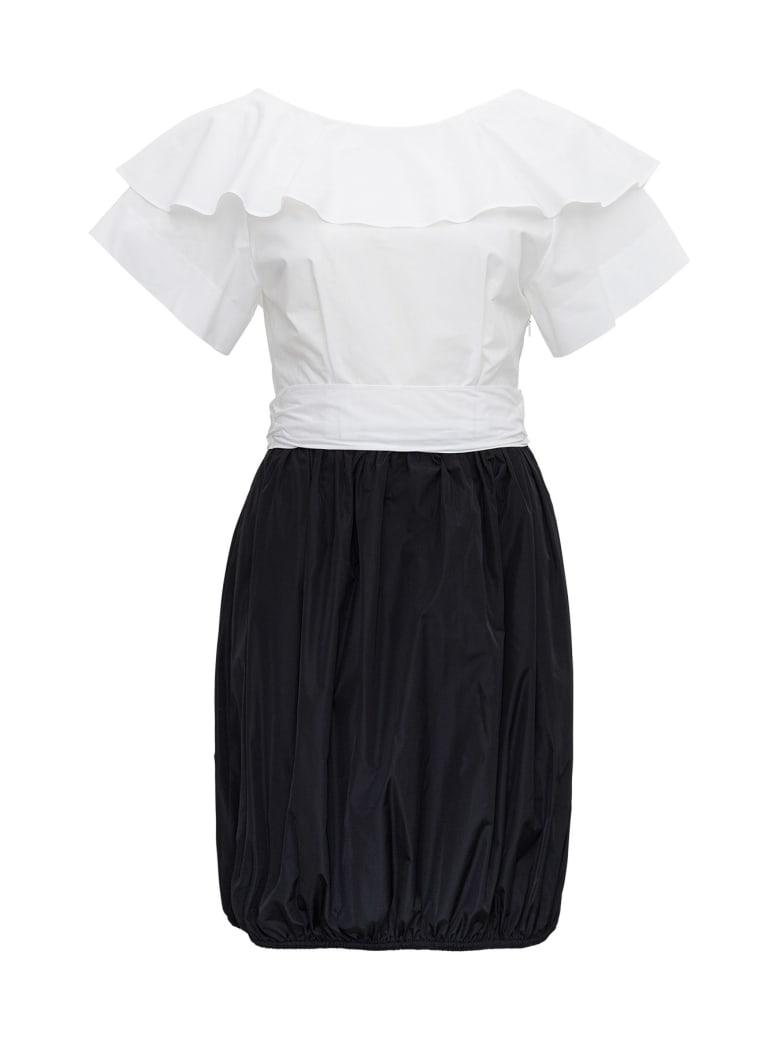 Patou Dress With Back Bow Detail - White/black