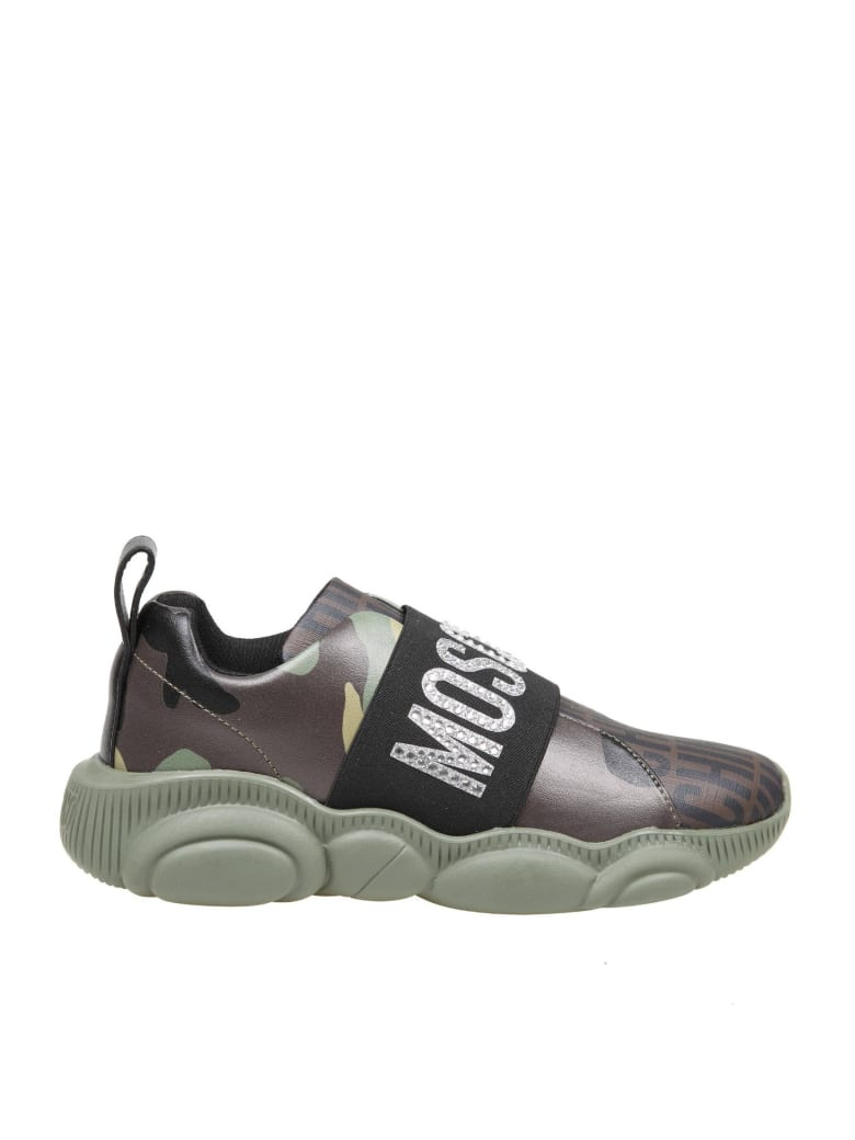 Moschino Slip On Teddy Run In Leather - Camouflage